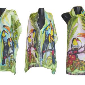 Ръчно рисуван копринен шал Тукани 72