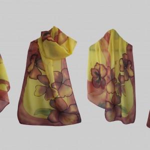 """Ръчно рисуван копринен шал """"Виолини"""""""