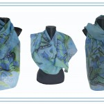 "Ръчно рисуван копринен шал ""Блян в синьо"""