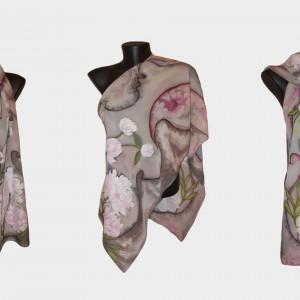 """Ръчно рисуван копринен шал """"Божури 3 """""""