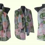 """Ръчно рисуван копринен шал """"Водни лилии """""""