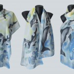 "Ръчно рисуван копринен шал ""Делфините 2"""