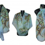 "Ръчно рисуван копринен шал ""Домино 3 """