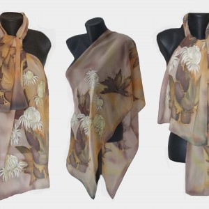 """Ръчно рисуван копринен шал""""Есенна соната"""""""