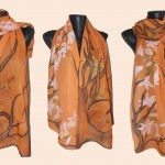 """Ръчно рисуван копринен шал""""Икебана"""""""