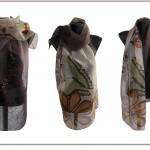 "Ръчно рисуван копринен шал ""Кестени и пеперуди 2 """