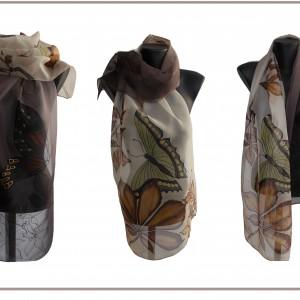 Ръчно рисуван  копринен шал     Кестени и пеперуди   2          12050