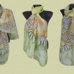 "Ръчно рисуван копринен шал ""Маргарити"""