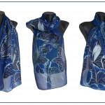 """Ръчно рисуван копринен шал """"Нощни пеперуди 2,в синьо"""""""
