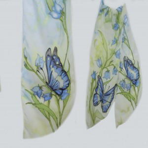 "Ръчно рисуван копринен шал""Танц на пеперудите"""