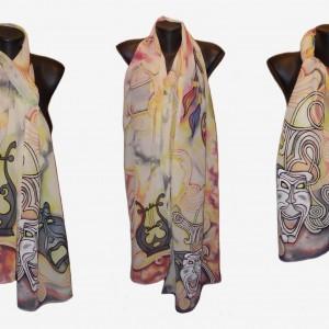 """Ръчно рисуван копринен шал """"Когато музите нашепват"""" Материя:шифон Размери : 200см х 40 см"""