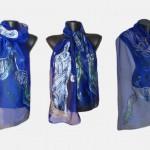 """Ръчно рисуван копринен шал""""Ново начало"""".Материя - шифон.Размери  140 х 40 см."""