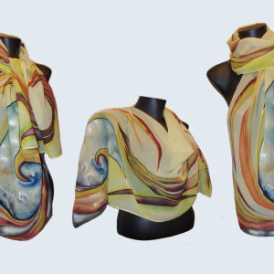 "Ръчно рисуван копринен шал ""Бриз"",материя-шифон,размери - 140 см х 40 см.Atelie ""Nevy & Dil"",23 април 2014"