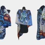 Ръчно рисуван копринен шал  Соната за щурчета и цигулка    200