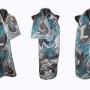 Ръчно рисуван копринен шал   Абстрактно тюркоаз  200