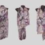 Ръчно рисуван копринен шал   Метаморфози в лилаво       200