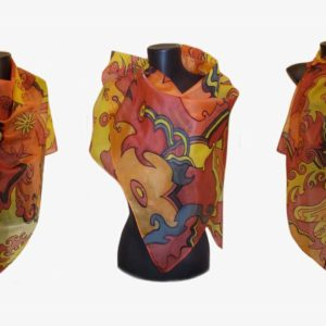 Ръчно рисуван копринен шал Витражи 72