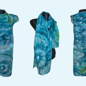 Ръчно рисуван копринен шал Щастие облечено в синьо 72