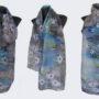 Ръчно рисуван копринен шал Еделвайси 72