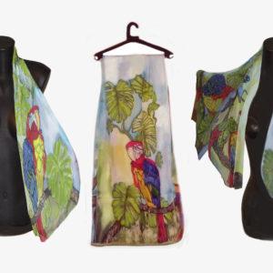 Ръчно рисуван копринен шал Какаду 200