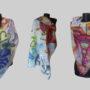 Ръчно рисуван копринен шал Летящи чадъри 200