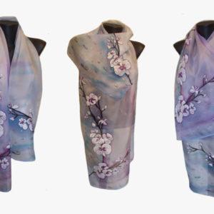 Ръчно рисуван копринен шал Орхидеи с капки дъжд 72 – Копие