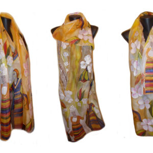 Ръчно рисуван копринен шал Сватбено хоро 200