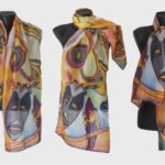 Ръчно рисуван копринен шал Африка А 200