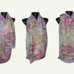Ръчно рисуван копринен шал Фламинго 200